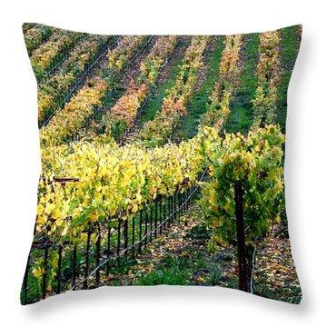 Vineyards In Healdsburg Throw Pillow by Charlene Mitchell