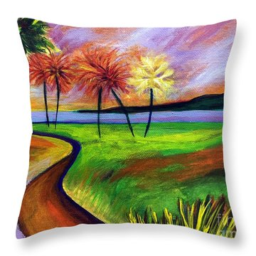 Vinoy Park In Purple Throw Pillow by Elizabeth Fontaine-Barr