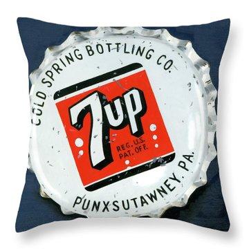 Vintag Bottle Cap, 7up Throw Pillow by Rob De Vries