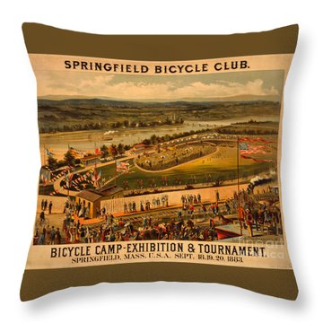 Throw Pillow featuring the photograph Vintage 1883 Springfield Bicycle Club Poster by John Stephens