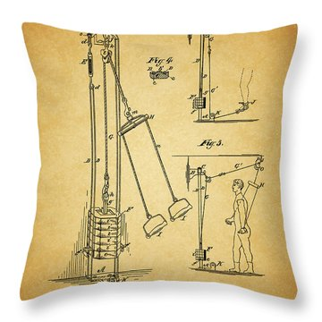 Vintage 1885 Exercising Device Patent Throw Pillow by Dan Sproul