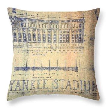 Vintage 1920s Art Deco Yankee Stadium Blueprint Throw Pillow