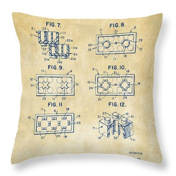 Vintage 1961 Lego Brick Patent Art Throw Pillow