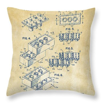 Throw Pillow featuring the drawing Vintage 1961 Toy Building Brick Patent Art by Nikki Marie Smith