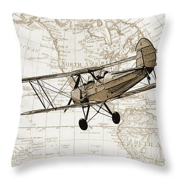 Vintage Adventure Throw Pillow by Delphimages Photo Creations