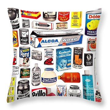 Vintage American Brands Throw Pillow