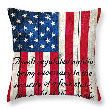 Vintage American Flag And 2nd Amendment On Old Wood Planks Throw Pillow