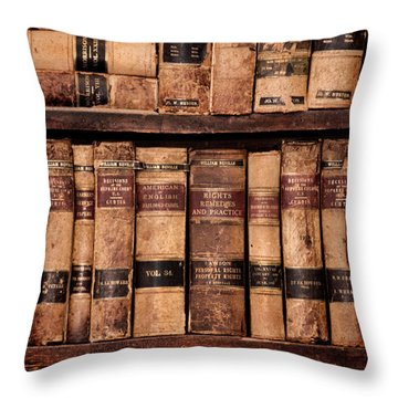 Vintage American Law Books Throw Pillow by Jill Battaglia