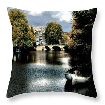 Throw Pillow featuring the photograph Vintage Amsterdam by Jim Hill