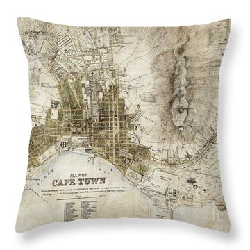 Vintage Antique Cape Town South Africa City Map Throw Pillow