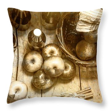 Vintage Apple Cider On Wood Crate Throw Pillow