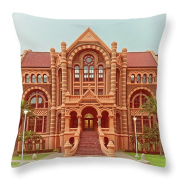 Vintage Architectural Photograph Of Ashbel Smith Old Red Building At Utmb - Downtown Galveston Texas Throw Pillow