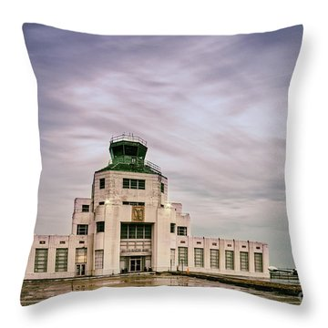 Vintage Architectural Photograph Of The 1940 Air Terminual Museum - Hobby Airport Houston Texas Throw Pillow