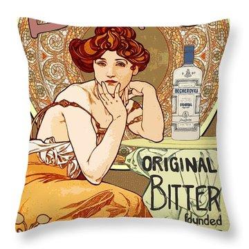 Vintage Art Nouveau Bechers Original Bitter 1807 Throw Pillow