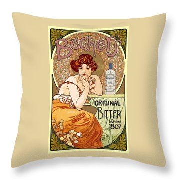 Vintage Art Nouveau Bechers Original Bitter 1807 Throw Pillow