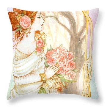 Vintage Art Nouveau Flower Lady Throw Pillow