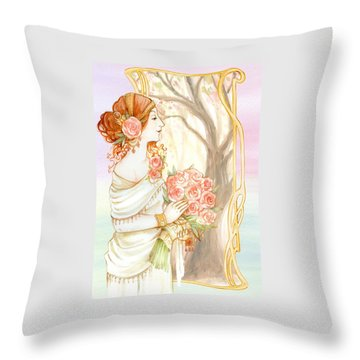Vintage Art Nouveau Flower Lady Throw Pillow