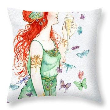 Vintage Art Nouveau Lady Party Time Throw Pillow