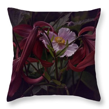 Vintage Asiatic Lilies  Throw Pillow by Richard Cummings