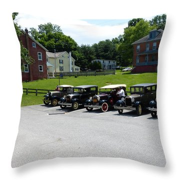 Throw Pillow featuring the photograph Vintage Auto Display by Donald C Morgan