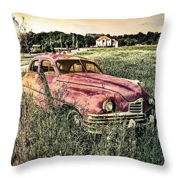 Vintage Auto In A Field Throw Pillow