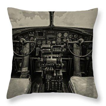 Vintage B-17 Cockpit Throw Pillow