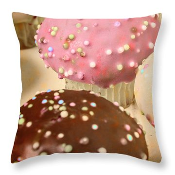 Vintage Bakery Scene Throw Pillow