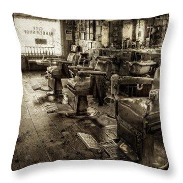 Vintage Barber Shop Throw Pillow
