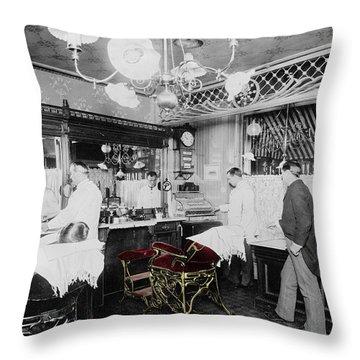 Vintage Barbershop 4 Throw Pillow