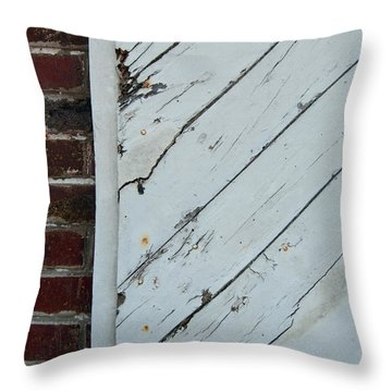 Vintage Barn Door And Red Brick Throw Pillow
