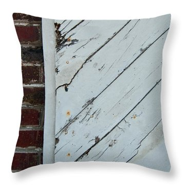 Throw Pillow featuring the photograph Vintage Barn Door And Red Brick by Jani Freimann