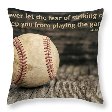 Vintage Baseball Babe Ruth Quote Throw Pillow