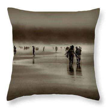 Vintage Beach Walk Throw Pillow by David Patterson