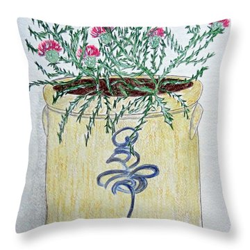 Vintage Bee Sting Crock And Thistles Throw Pillow