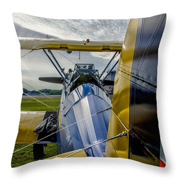 Vintage Bi Plane Throw Pillow