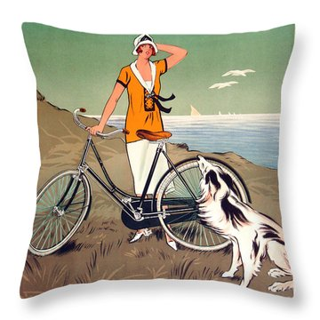 Vintage Bicycle Advertising Throw Pillow by Mindy Sommers