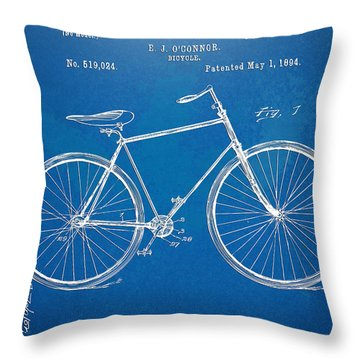 Throw Pillow featuring the digital art Vintage Bicycle Patent Artwork 1894 by Nikki Marie Smith