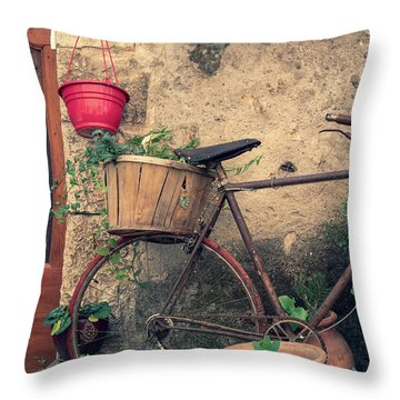 Vintage Bicycle Used As A Flower Pot, Provence Throw Pillow