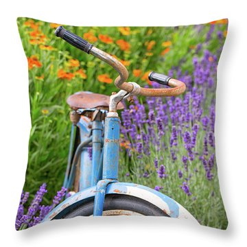 Throw Pillow featuring the photograph Vintage Bike In Lavender by Patricia Davidson