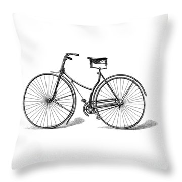Throw Pillow featuring the digital art Vintage Bike by ReInVintaged