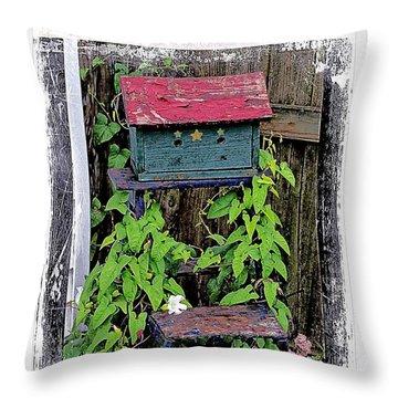 Vintage Bird House Throw Pillow