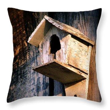 Vintage Birdhouse Throw Pillow by Jen McKnight