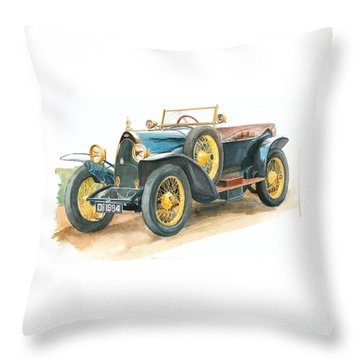 Vintage Blue Bugatti Classic Car Throw Pillow