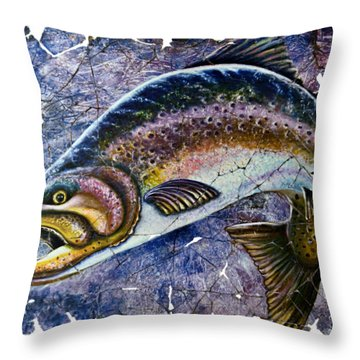 Vintage Blue Trout Fresco  Throw Pillow