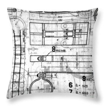 Vintage Blueprints Throw Pillow
