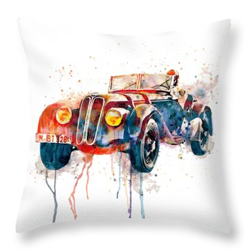 Vintage Bmw Watercolor Throw Pillow