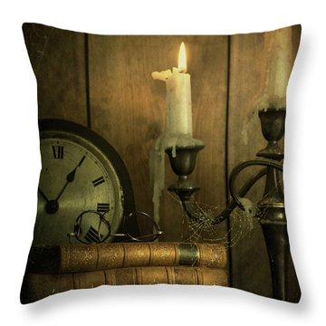 Vintage Books With Candles And An Old Clock Throw Pillow