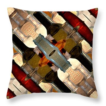 Vintage Bottles Abstract Throw Pillow