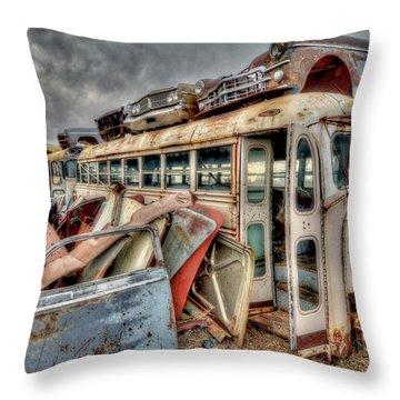 Vintage Bus Throw Pillow