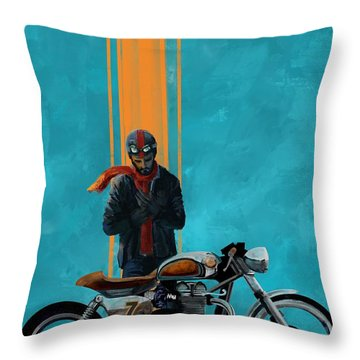 Vintage Cafe Racer  Throw Pillow